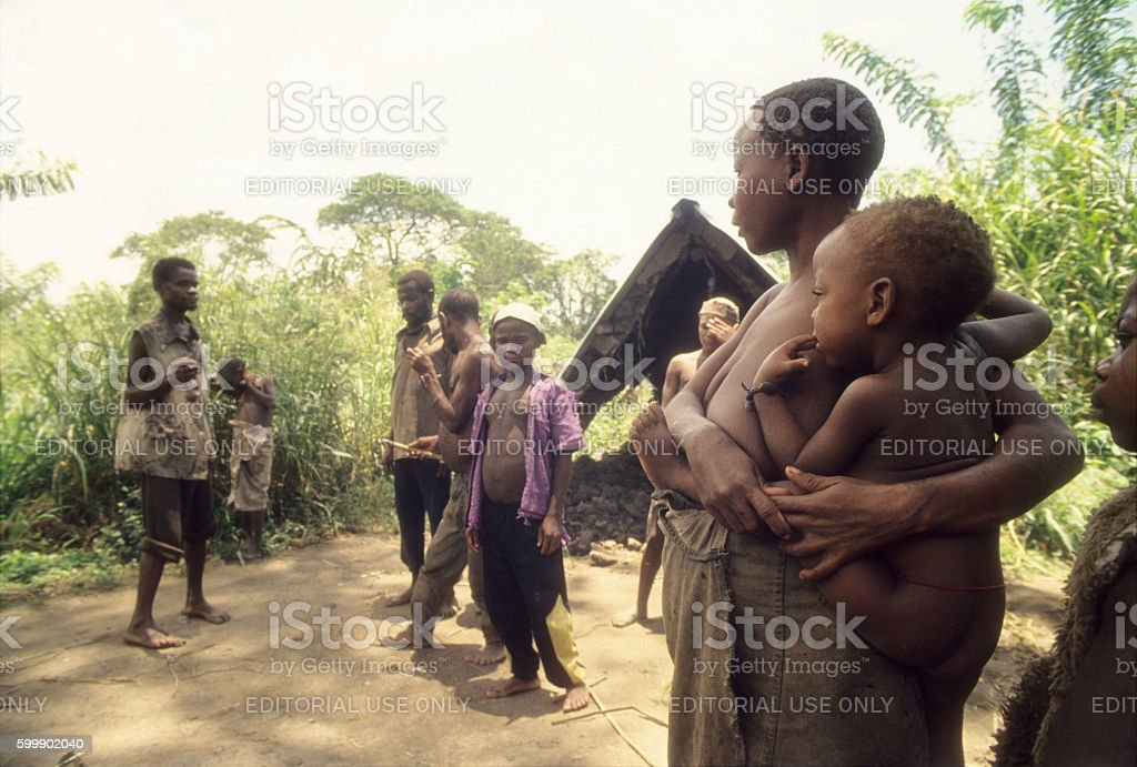 Pigmy woman and baby at Semiliki forest, Uganda stock photo