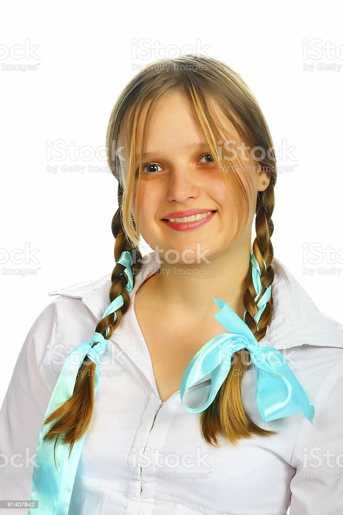 pigtail girl royalty-free stock photo