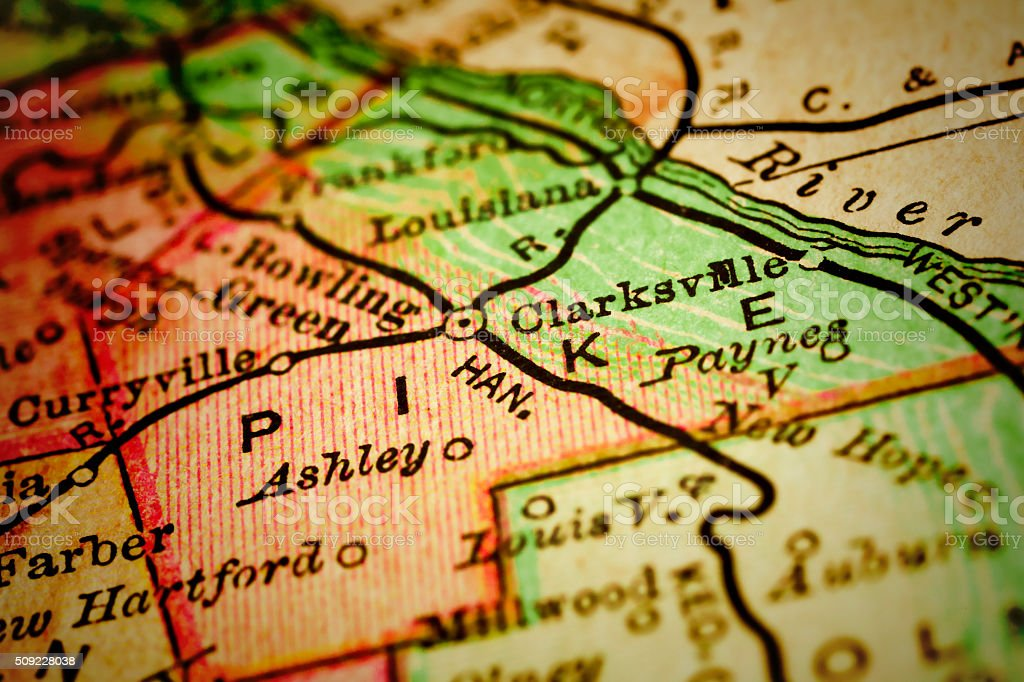 Pike | Missouri County maps stock photo