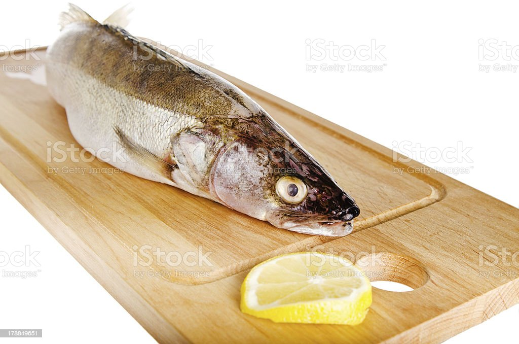 Pike perch on a wooden kitchen board stock photo