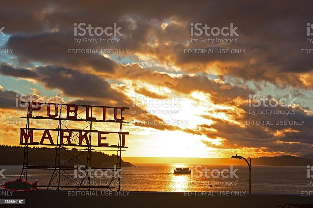 Pike Place Market at sunset stock photo