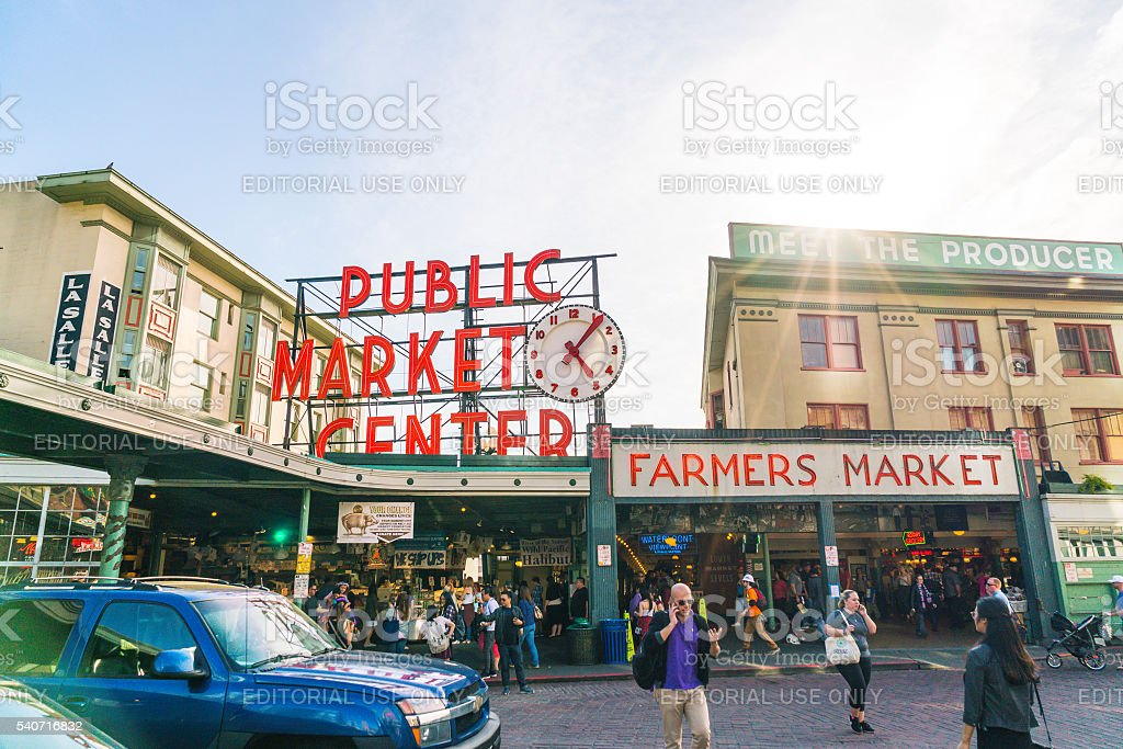 pike place market in summer season,Seattle. stock photo