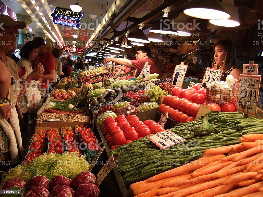 El mercado Pike Place, Seattle foto de stock libre de derechos