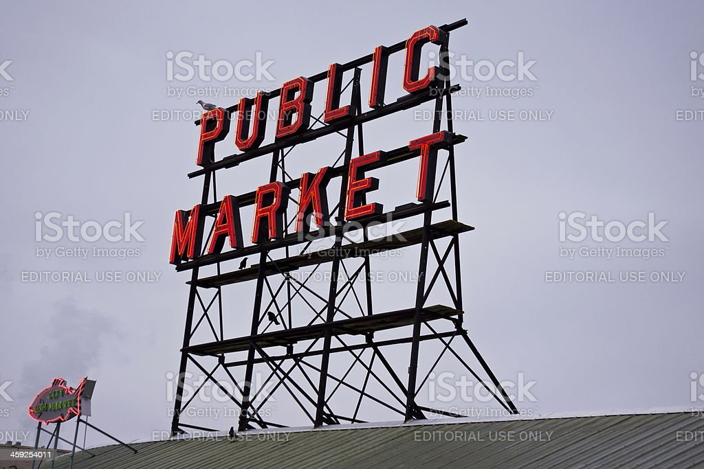 Pike Place Market Sign in Seattle royalty-free stock photo