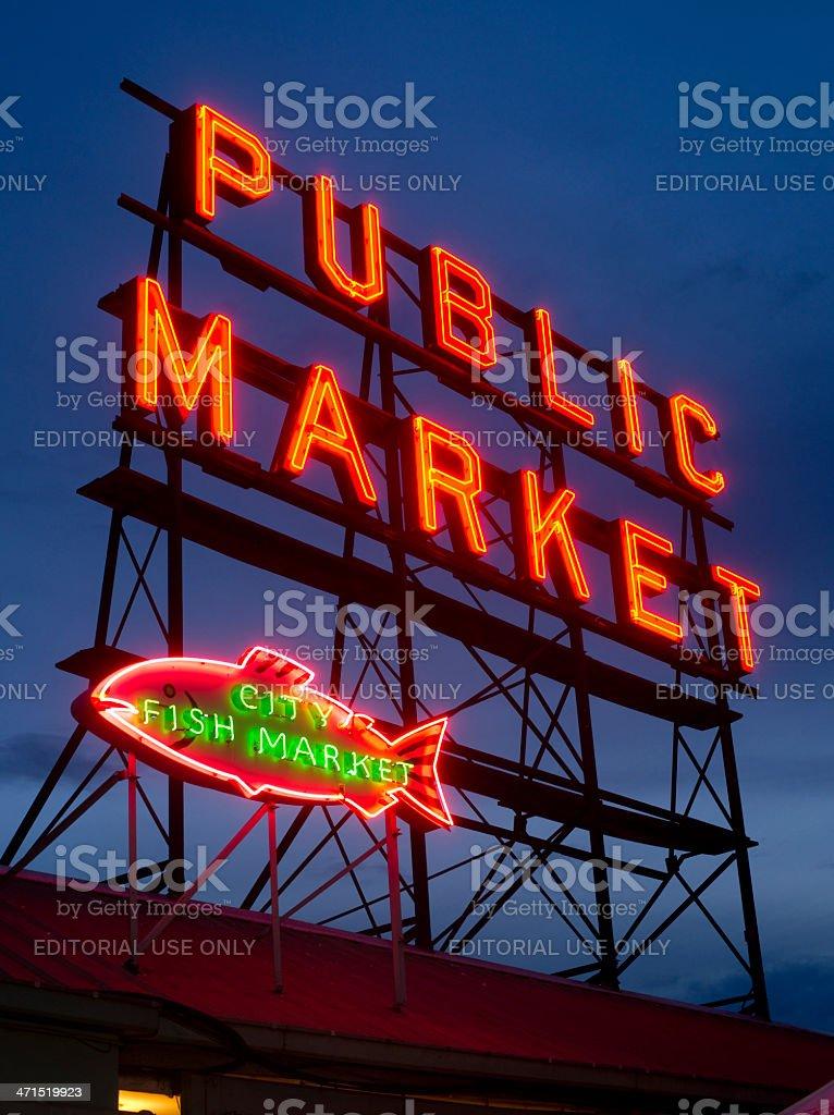 Pike PLace Public Market Sign Over Puget Sound Seattle Washington royalty-free stock photo