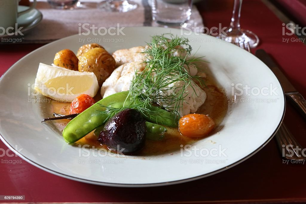 Pikeperch fillet with potatoes, beetroot and pea pods, Sweden Scandinavia stock photo