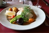 Pikeperch fillet with potatoes, beetroot and pea pods, Sweden Scandinavia
