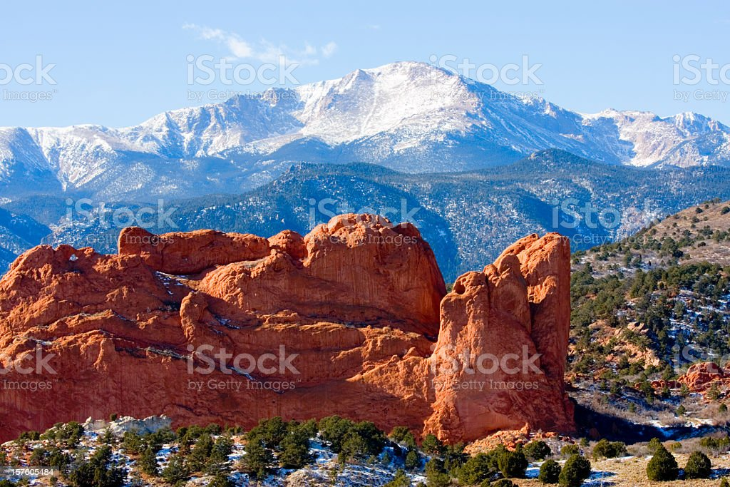 Pikes Peak and Garden of the Gods Colorado Springs stock photo