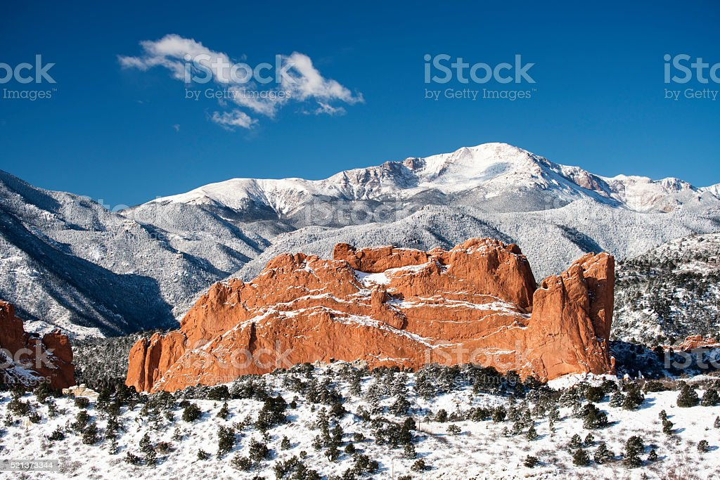 Pike's Peak and The Garden of the Gods stock photo