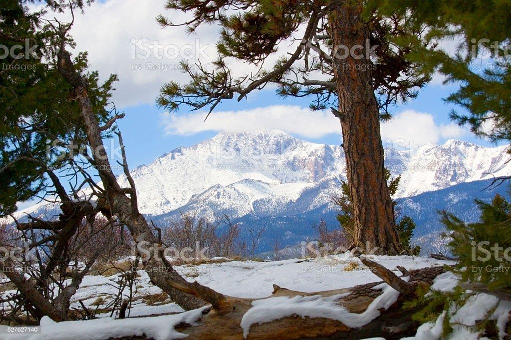 Pikes Peak Colorado in Snow stock photo