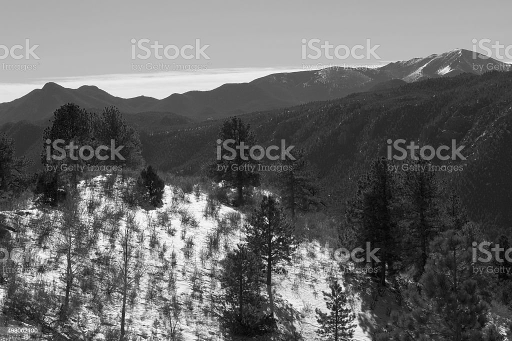 Pikes Peak Foothills after a Big Colorado Snowstorm stock photo