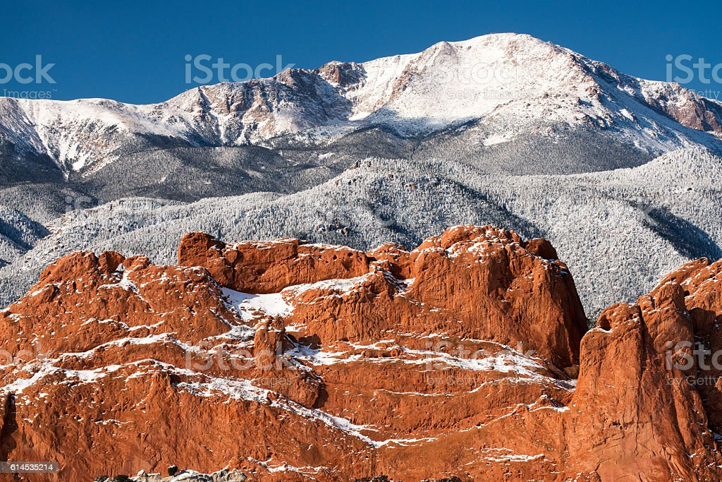 Pike's Peak from The Garden of the Gods stock photo