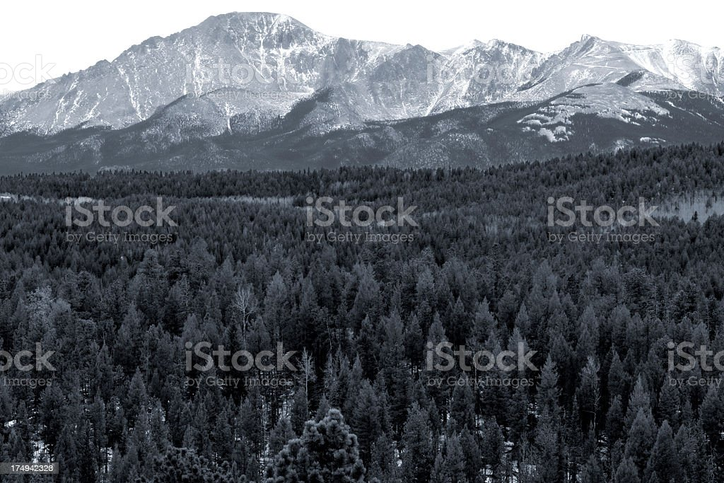 Pikes Peak from the Lovell Gulch Hiking Trail stock photo