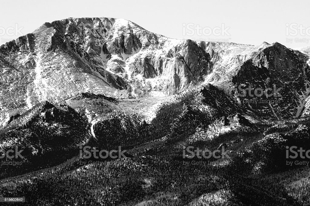 Pikes Peak in Wintertime stock photo