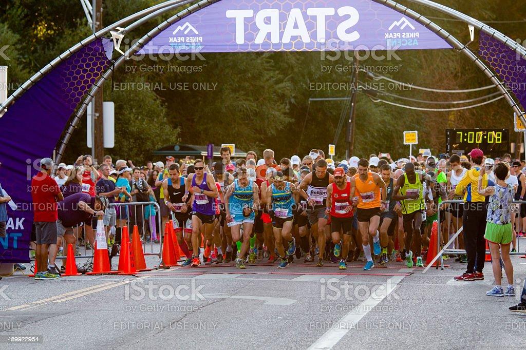Pikes Peak Marathon and Ascent Start stock photo