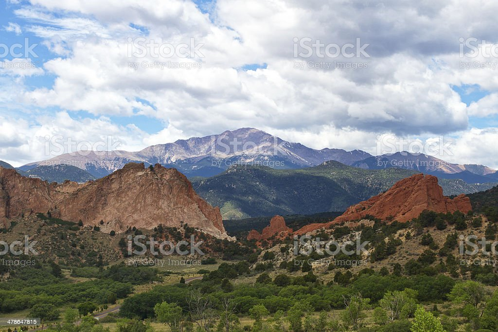 Pikes Peak on a summer day stock photo