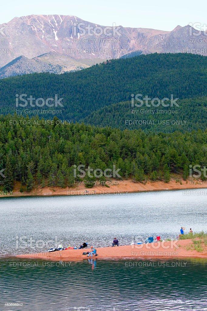 Pikes Peak Towering Over Crystal Reservoir stock photo