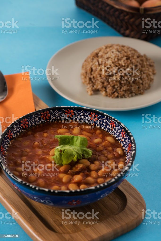 Pilaf is turkish traditional food with  beans and onions stock photo