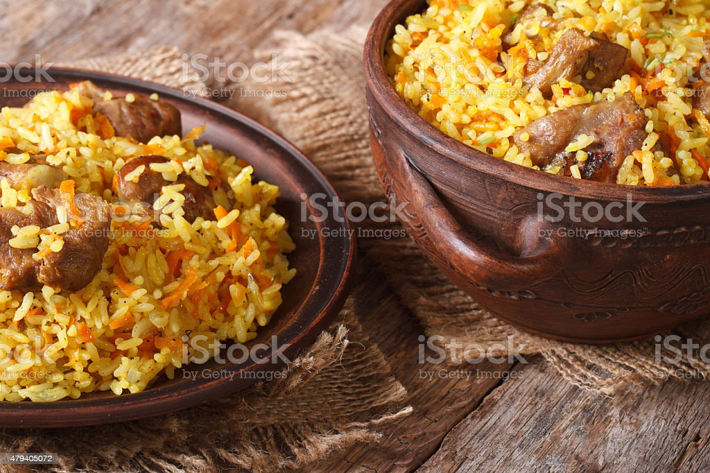 pilaf with meat and vegetables closeup horizontal stock photo