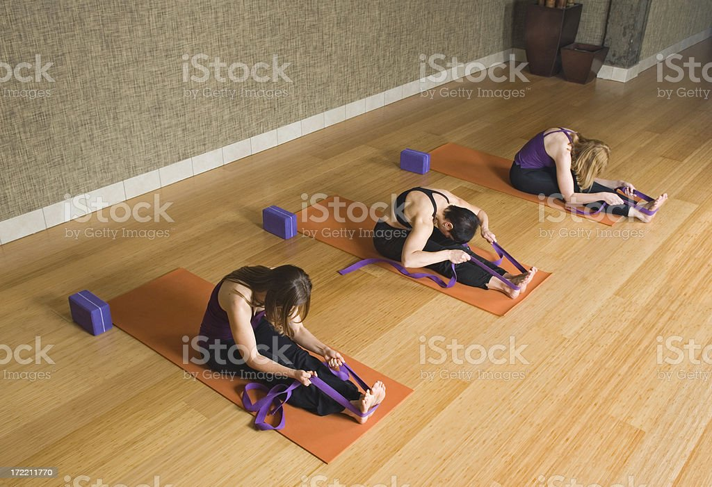 Pilates Class Stretch With Straps royalty-free stock photo