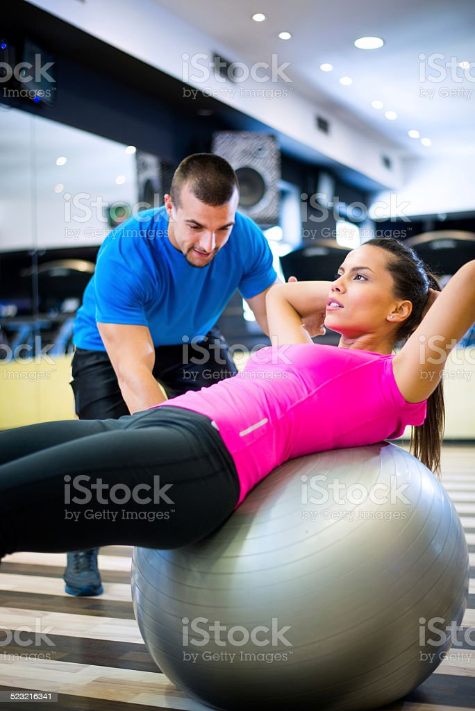 Pilates exercises in the gym stock photo