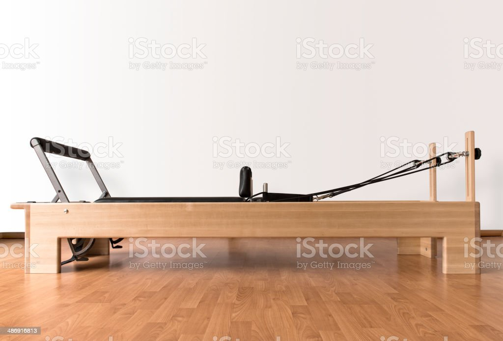 Pilates reformer table stock photo