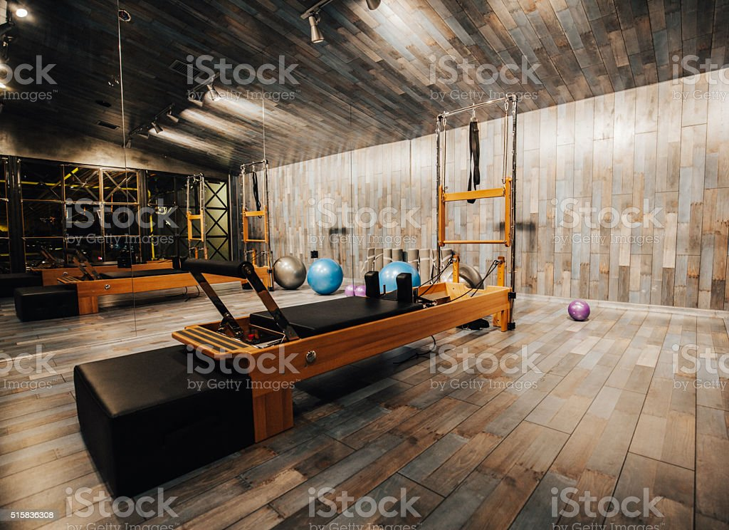 Pilates room in health club stock photo