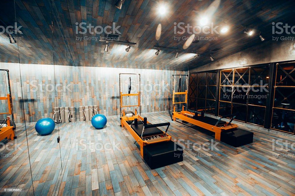 Pilates room in health club stock photo