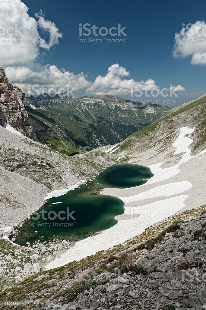 Pilato lake on the Sibillini mountains stock photo