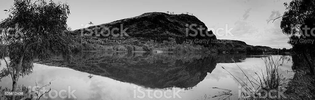 Pilbara Upper Carrawine Gorge in black and white stock photo