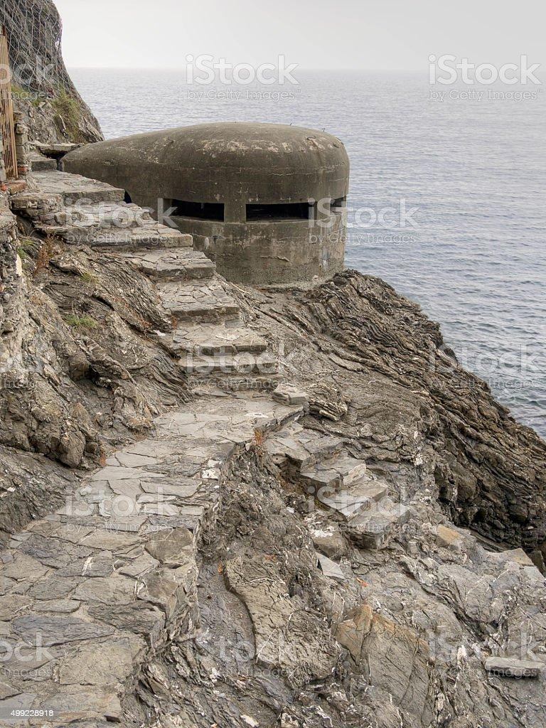 WW2 pilbox,bunker. Old war defences along coast, Italy. stock photo