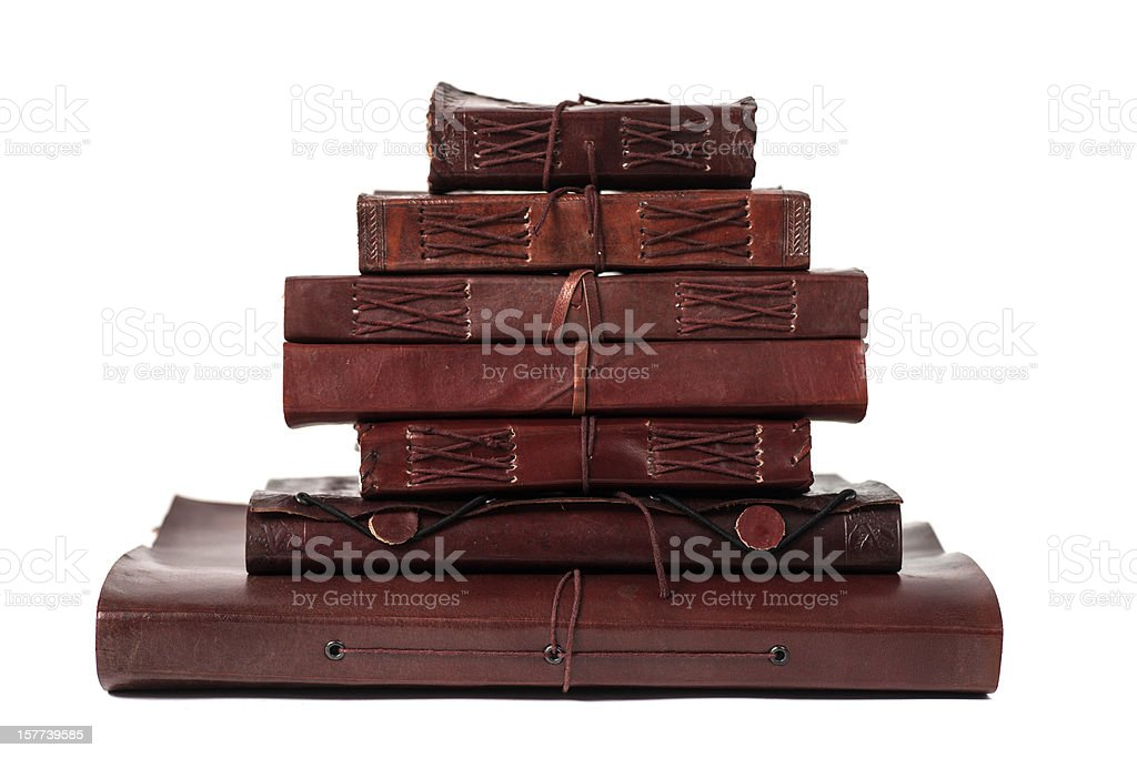 pile brown leatherbooks diary and notebooks from indiary royalty-free stock photo