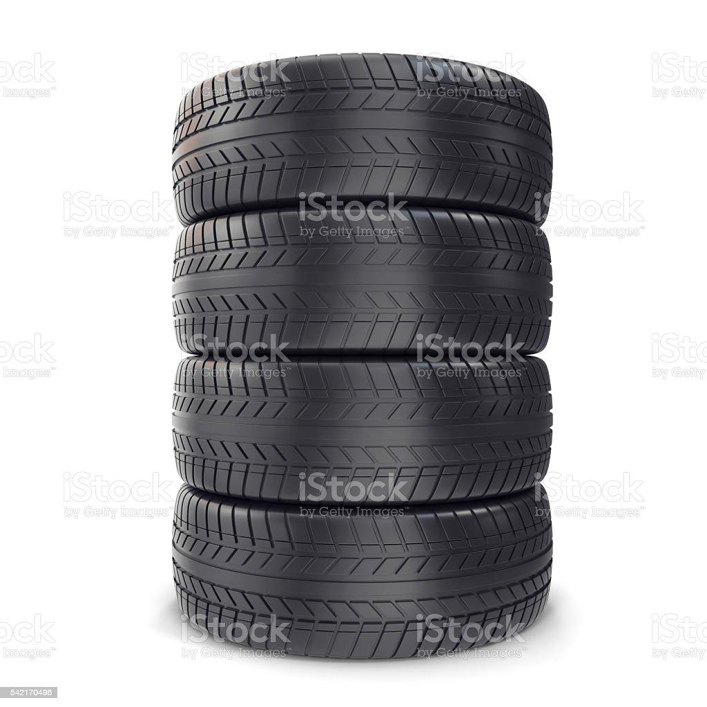 Pile Car wheels on white background. 3d illustration stock photo