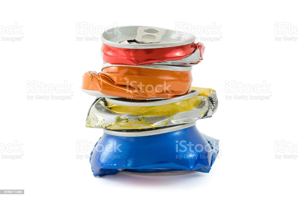 Pile Compressed cans isolated stock photo