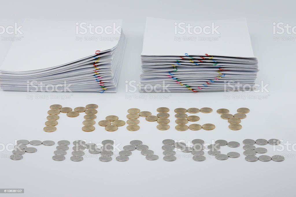 Pile document with colorful paperclip royalty-free stock photo