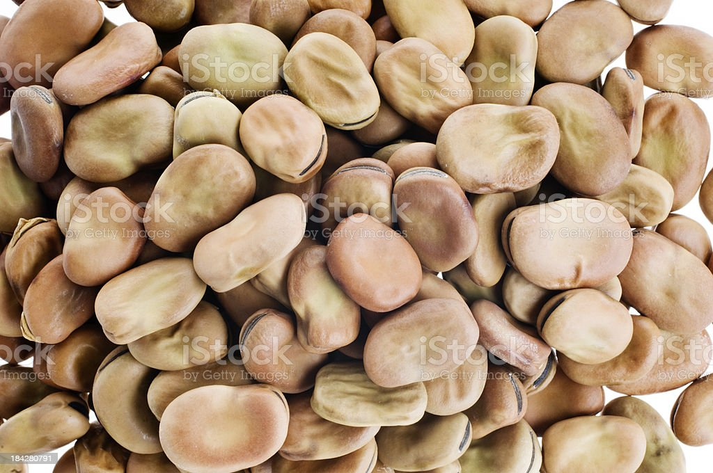 Pile Dried Broad Beans Overhead View stock photo