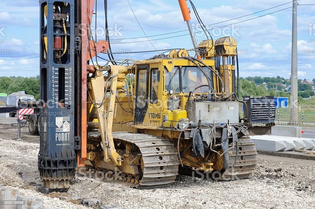 Pile driver stock photo