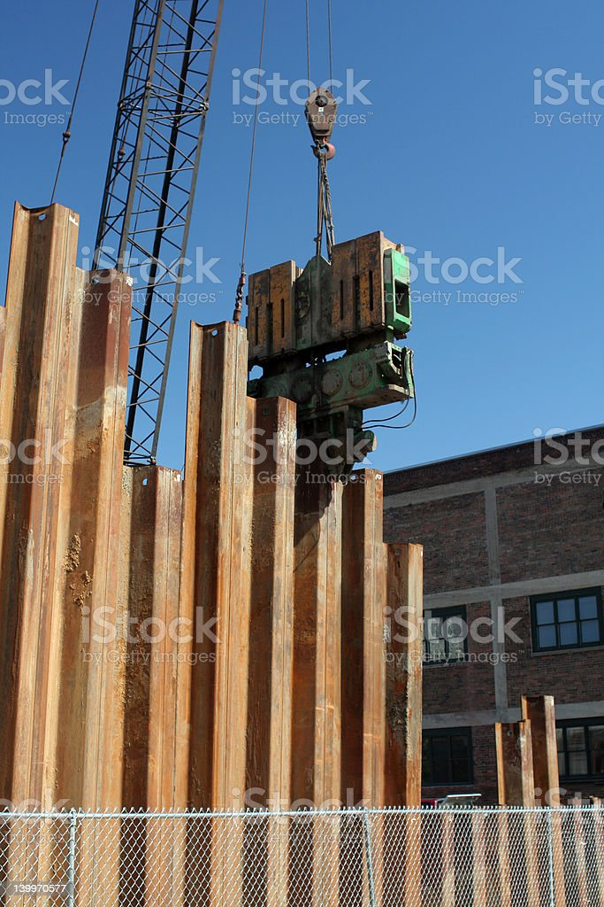 Pile Driver puts down metal pilings royalty-free stock photo