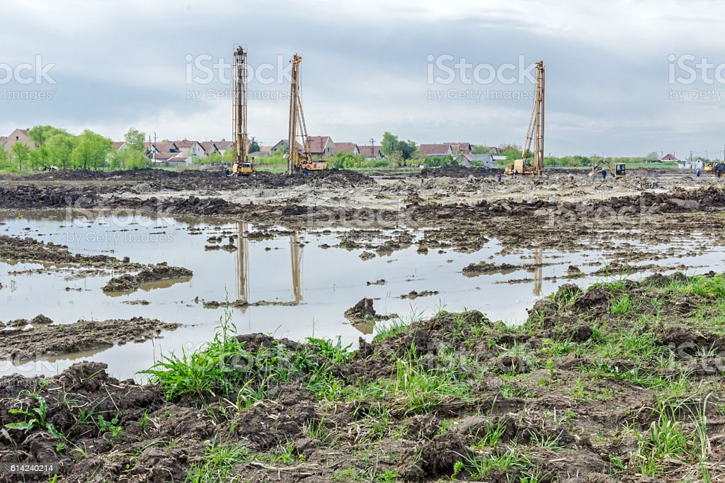Pile driving machine in construction site. stock photo
