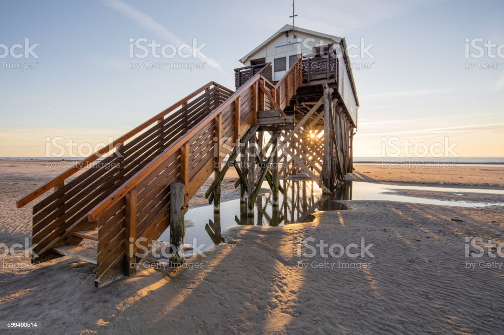 Pile dwelling in St. Peter-Ording, Germany stock photo