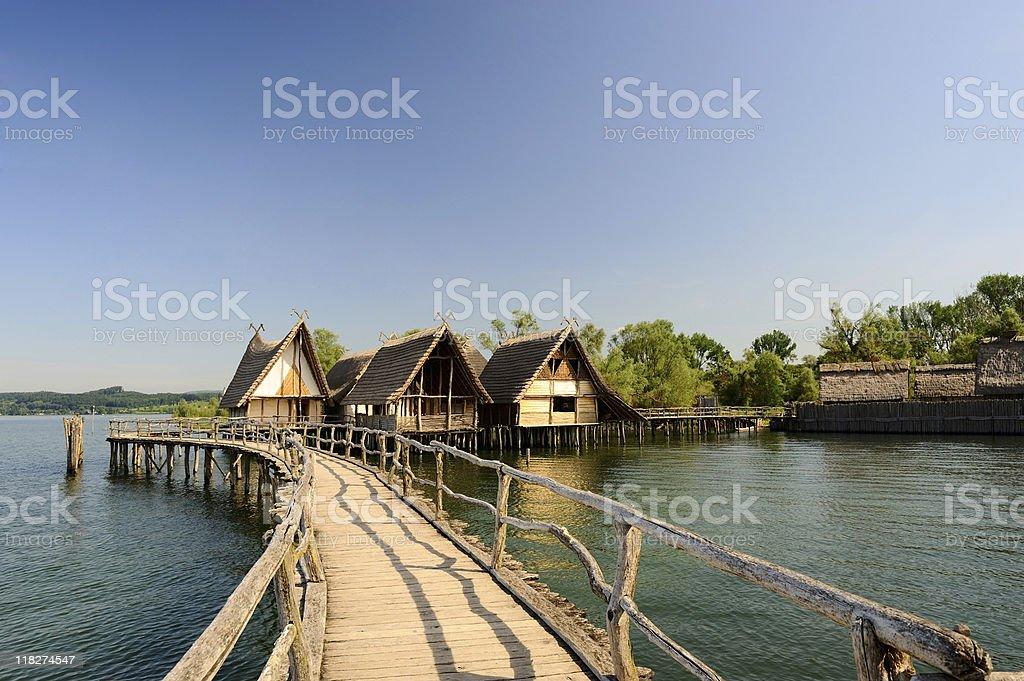 Pile Dwelling Town at Lake Constance Summer Bridge View stock photo