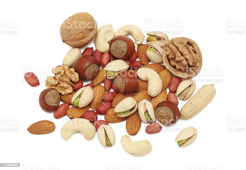Pile from different kinds of nuts (isolated) royalty-free stock photo