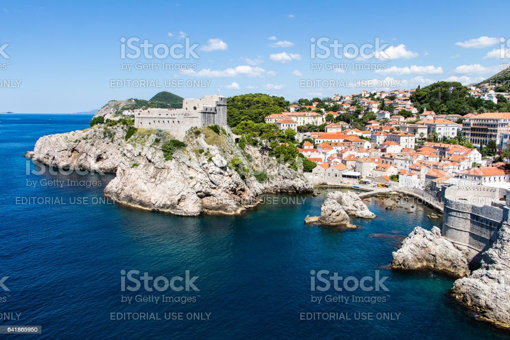 Pile Gate and Fort Lovrijenac at Dubrovnik's Old Town, Croatia stock photo