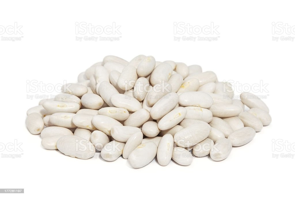 Pile Great Northern Beans isolated on white background. stock photo