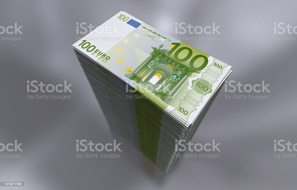 Pile of 100 Euro notes vector art illustration