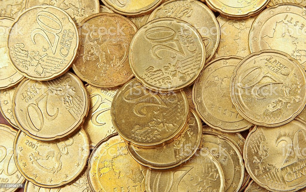 Pile of 20 cents euro coins stock photo