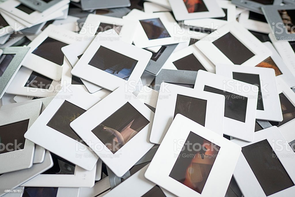 Pile of 35mm Film Slides stock photo