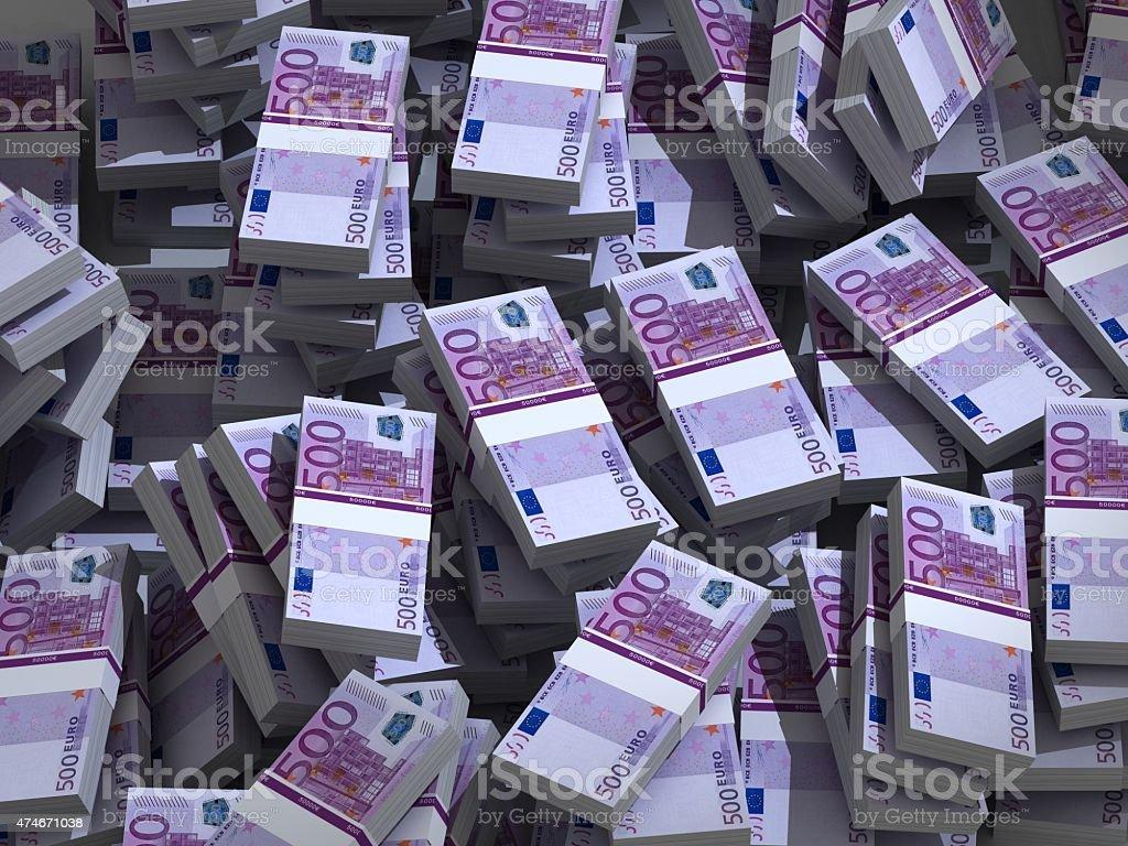 Pile of 500 euros stock photo