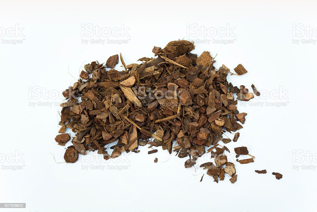 Pile of Aged Pine Bark and Coconut Fiber Soil Isolated stock photo