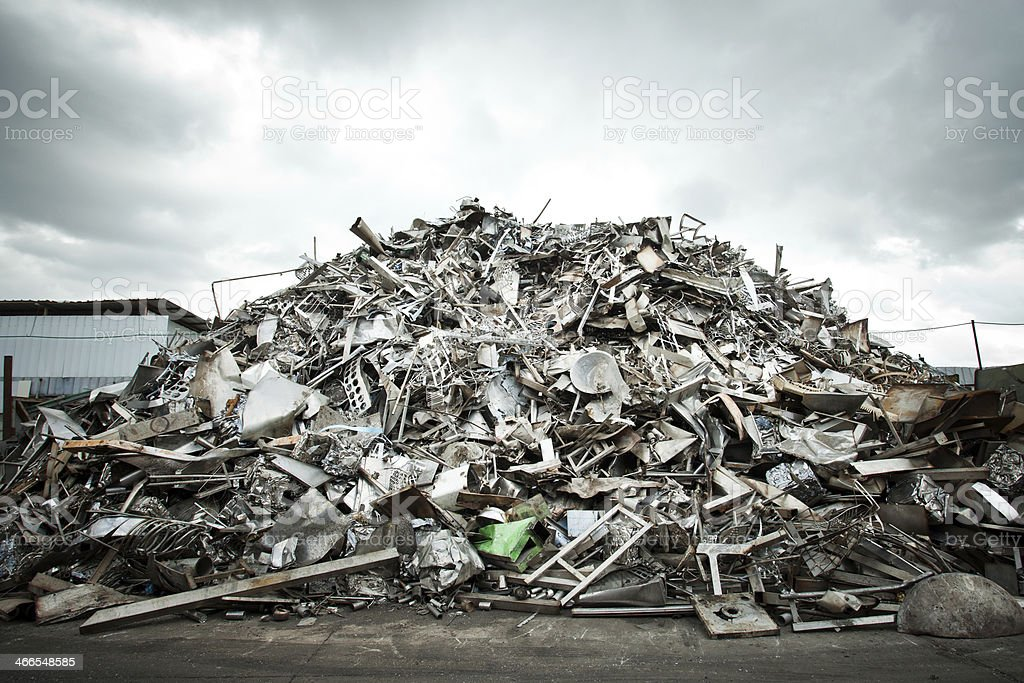 Pile of Aluminium scrap stock photo